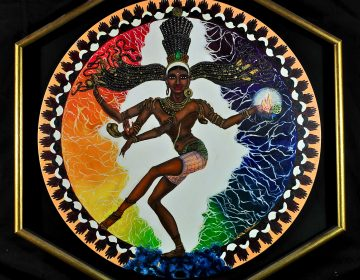 Shiva diam.60 cm - olio su tela