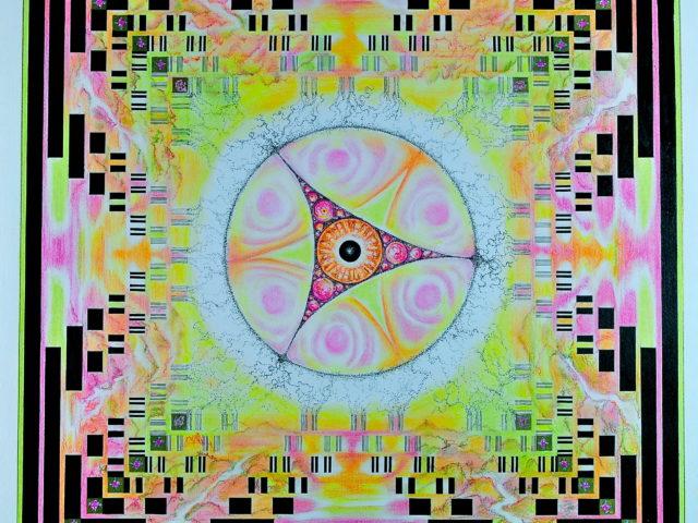 Teorema di Cantor - 50x50 - china,acquerello,conté su cartoncino
